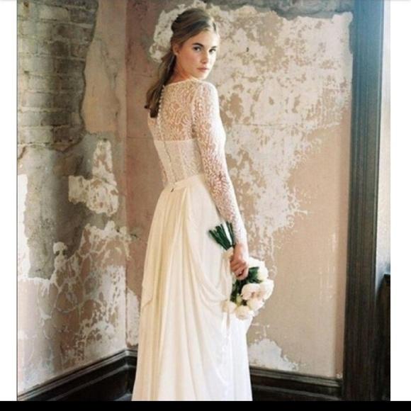 Dresses | Lace V Neck Long Sleeve Wedding Dress | Poshmark